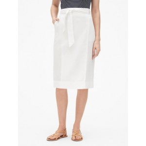 Wrap Midi Skirt in Linen-Cotton