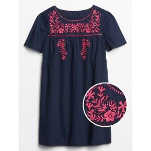 Kids Embroidered Short Sleeve Dress