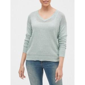 Open-Stitch V-Neck Sweater