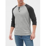 Lived-In Colorblock Henley in Slub Jersey