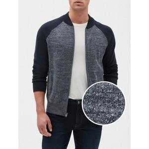 Colorblock Full-Zip Bomber Sweater