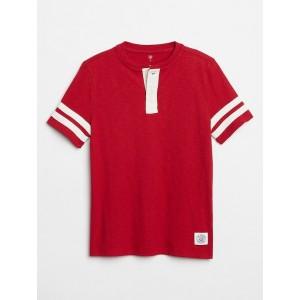 Kids Contrast-Stripe Short Sleeve Henley T-Shirt
