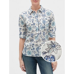 Print Boyfriend Popover Shirt