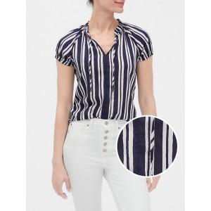 Print Tie-Neck Short Sleeve Shirt