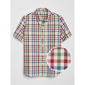 Kids Print Poplin Short Sleeve Shirt