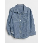 Toddler Chambray Two-Pocket Long Sleeve Shirt