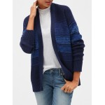 Mix-Stitch Open-Front Cardigan Sweater