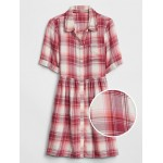 Kids Plaid Short Sleeve Shirtdress