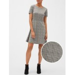Plaid Fit and Flare Dress in Ponte