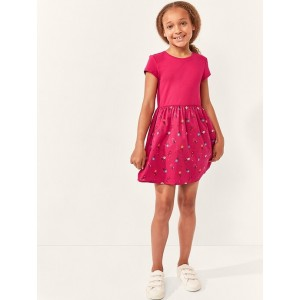 Kids Mix-Fabric Fit and Flare Dress