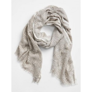Oblong Print Edge Frayed Scarf