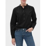 Textured Ruffle-Neck Popover Shirt