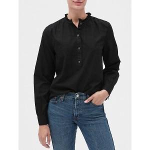 Textured Ruffle-Neck Popover Shirt