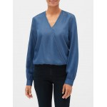 Long Sleeve Wrap Top in TENCEL™