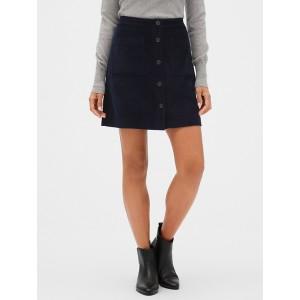 Button-Front Corduroy Mini Skirt
