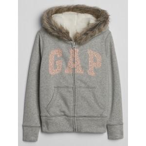 Kids Faux Fur Logo Sweatshirt