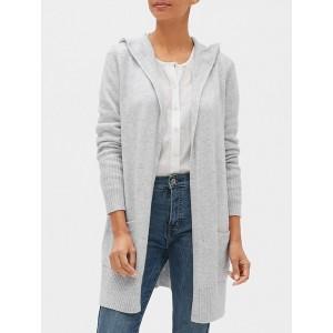 Longline Hooded Open-Front Cardigan Sweater