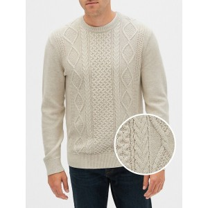 Cable-Knit Crewneck Pullover Sweater