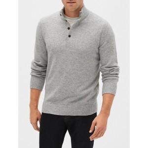 Button Mockneck Sweater