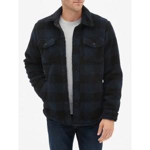 Plaid Sherpa Shirt Jacket