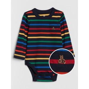 Baby Crazy Stripe Pocket Long Sleeve Bodysuit