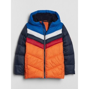 Kids Colorblock Hooded Puffer Jacket