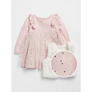 Baby Dress Faux-Fur Vest Outfit Set