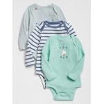 Baby Print Long Sleeve Bodysuit (3-Pack)