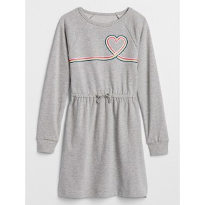 Kids Graphic Cinched-Waist Sweatshirt Dress