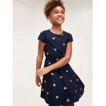 Kids Sequin Print Fit and Flare Dress