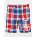 Kids Flat Front Shorts in Plaid
