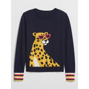Kids Crewneck Cheetah Graphic Sweater