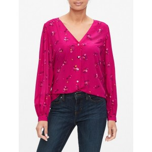 Button-Front Print Top