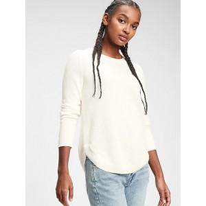 Curved Hem Crewneck Sweater