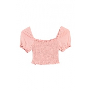 Short Sleeve Knit Smocked Square Neck Top