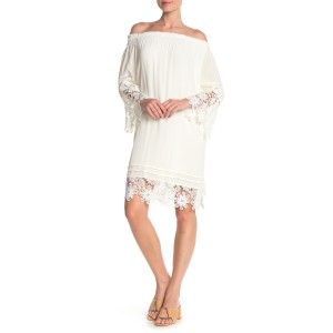 Off-the-Shoulder Crochet Lace Shift Dress