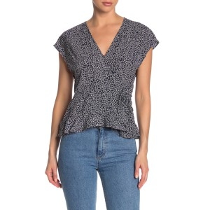 Printed Cinched Waist Wrap Top