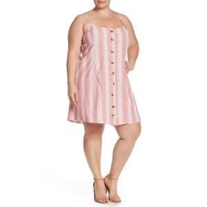 Sleeveless Stripe Button Up Dress (Plus Size)