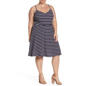 V-Neck Stripe Textured Knit Dress (Plus Size)