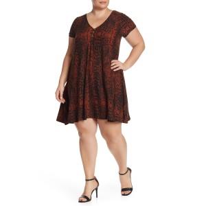 V-Neck Front Button Knit Dress (Plus Size)