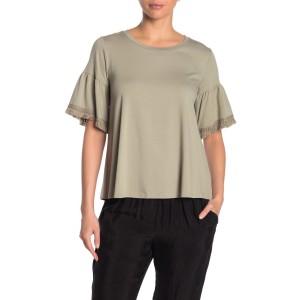 Fringe Trim Flutter Sleeve T-Shirt