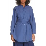 Belted Oversize Cotton Blouse