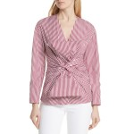 Stripe Bow Front Blouse