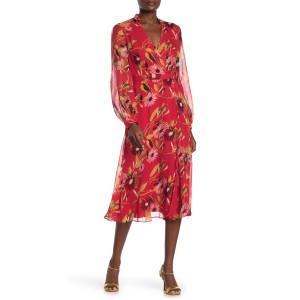 Andrese Surplice V-neck Waist Belt Printed Silk Dress