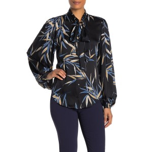 Cleone Printed Neck Tie Blouse