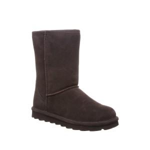Elle Short Wide Suede Genuine Sheepskin Footbed Boot