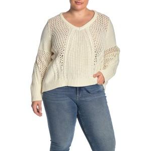 Jrasika Open Stitch V-Neck Sweater (Plus Size)