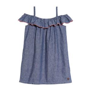 Chambray Ruffle Neck Dress (Toddler Girls, Little Girls & Big Girls)