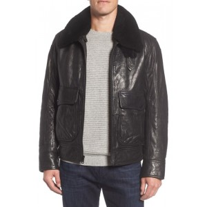 3614 Leather Jacket with Genuine Lamb Shearling Collar