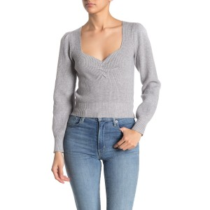 Long Sleeve Sweetheart Neck Cropped Sweater